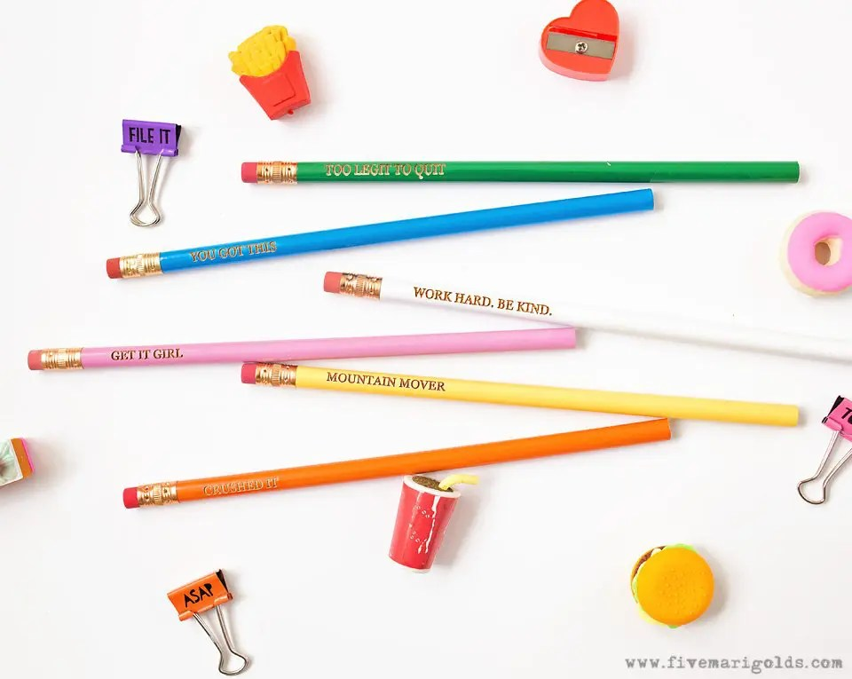 DIY School Supplies: Easy Custom Pencils and Toppers for BTS Gifts | Five Marigolds