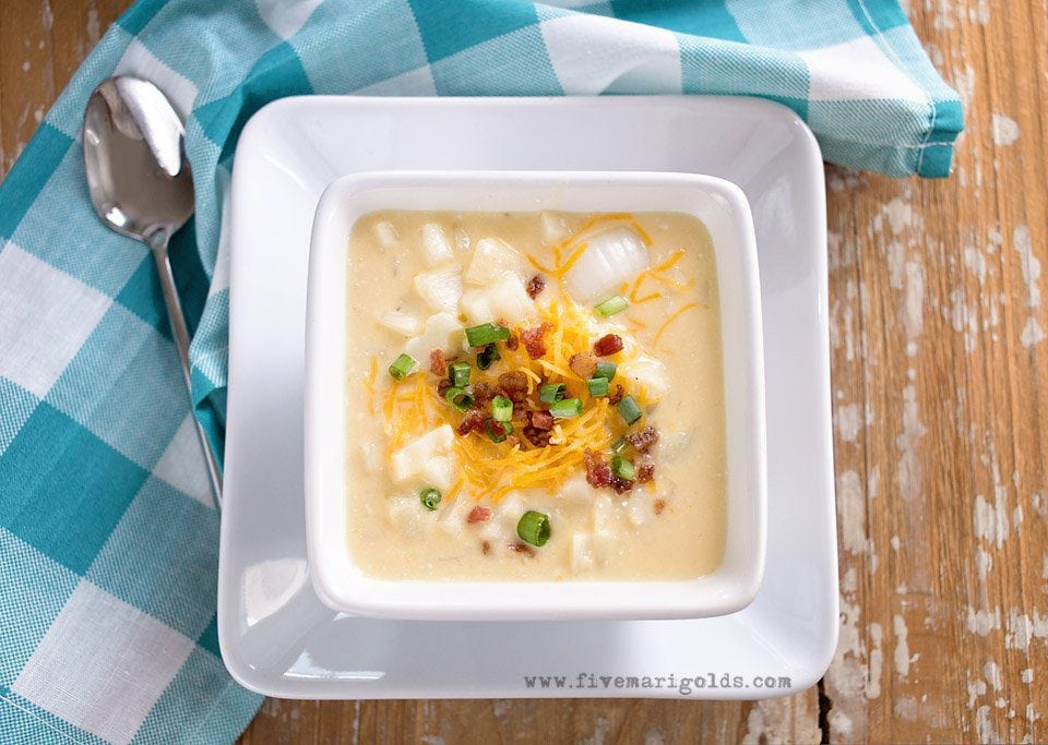 Slow cooker potato soup. Quick, easy comfort food.