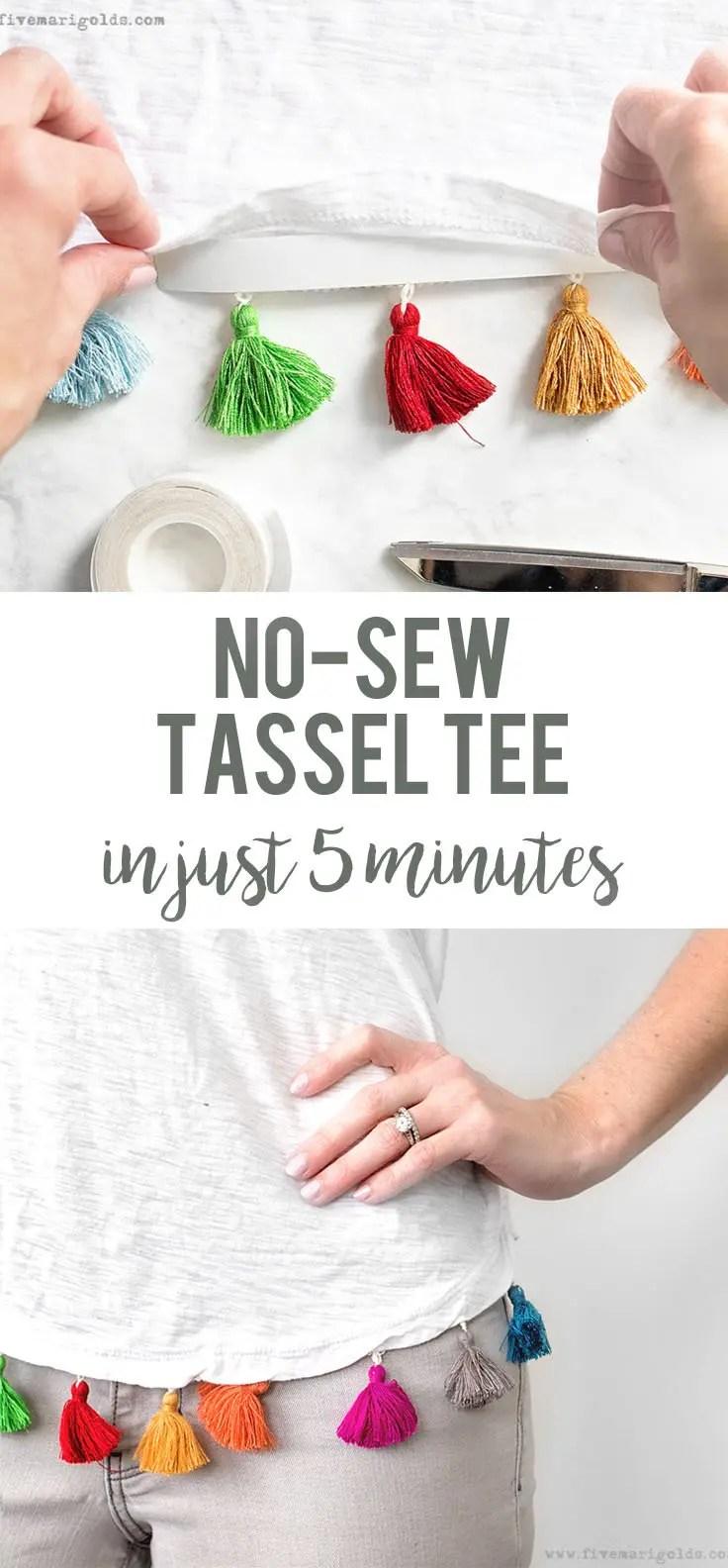 DIY No-Sew Tassel Tee