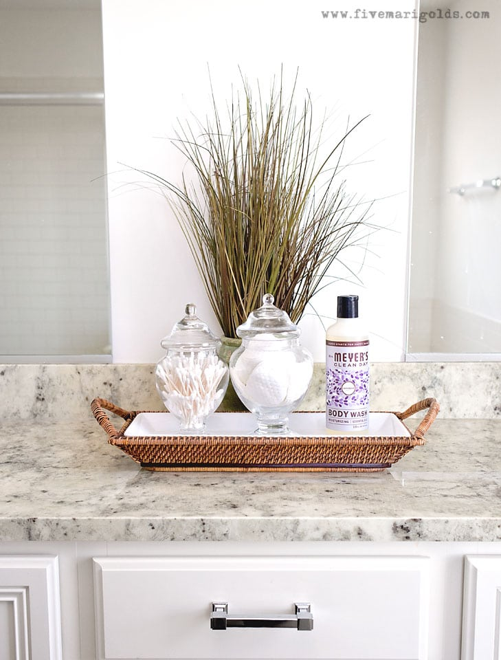 Master Bathroom Mini Makeover. One Bathroom, styled two ways for spring