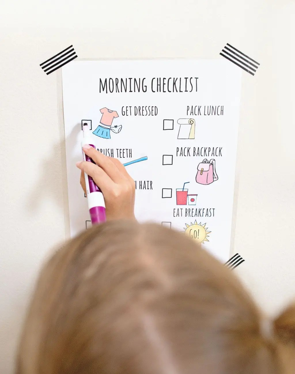Free Morning Routine Printable Chart for Back to School | Five Marigolds