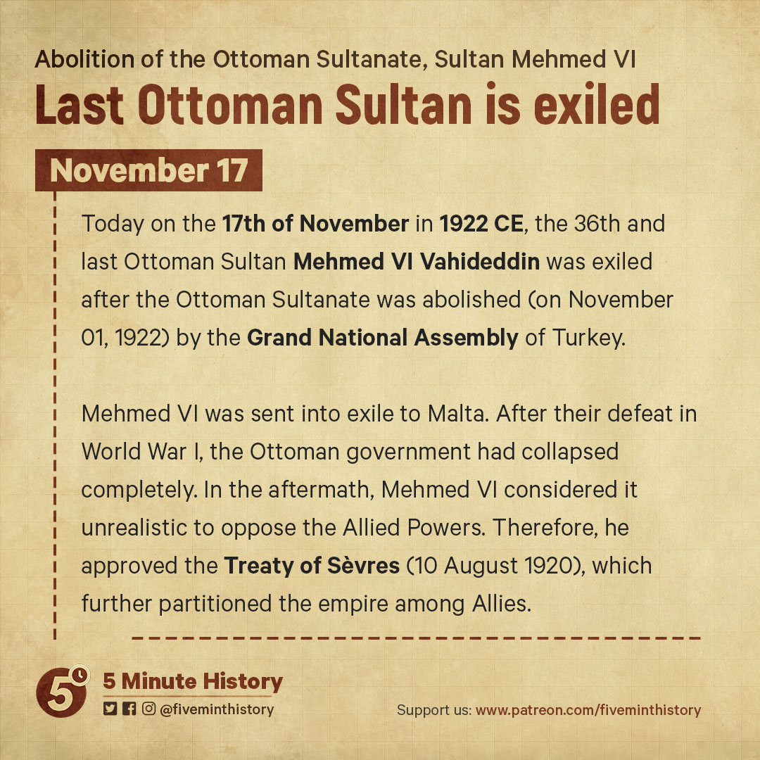 Last-Ottoman-Sultan-Mehmed-VI-is-exiled,-1922-CE