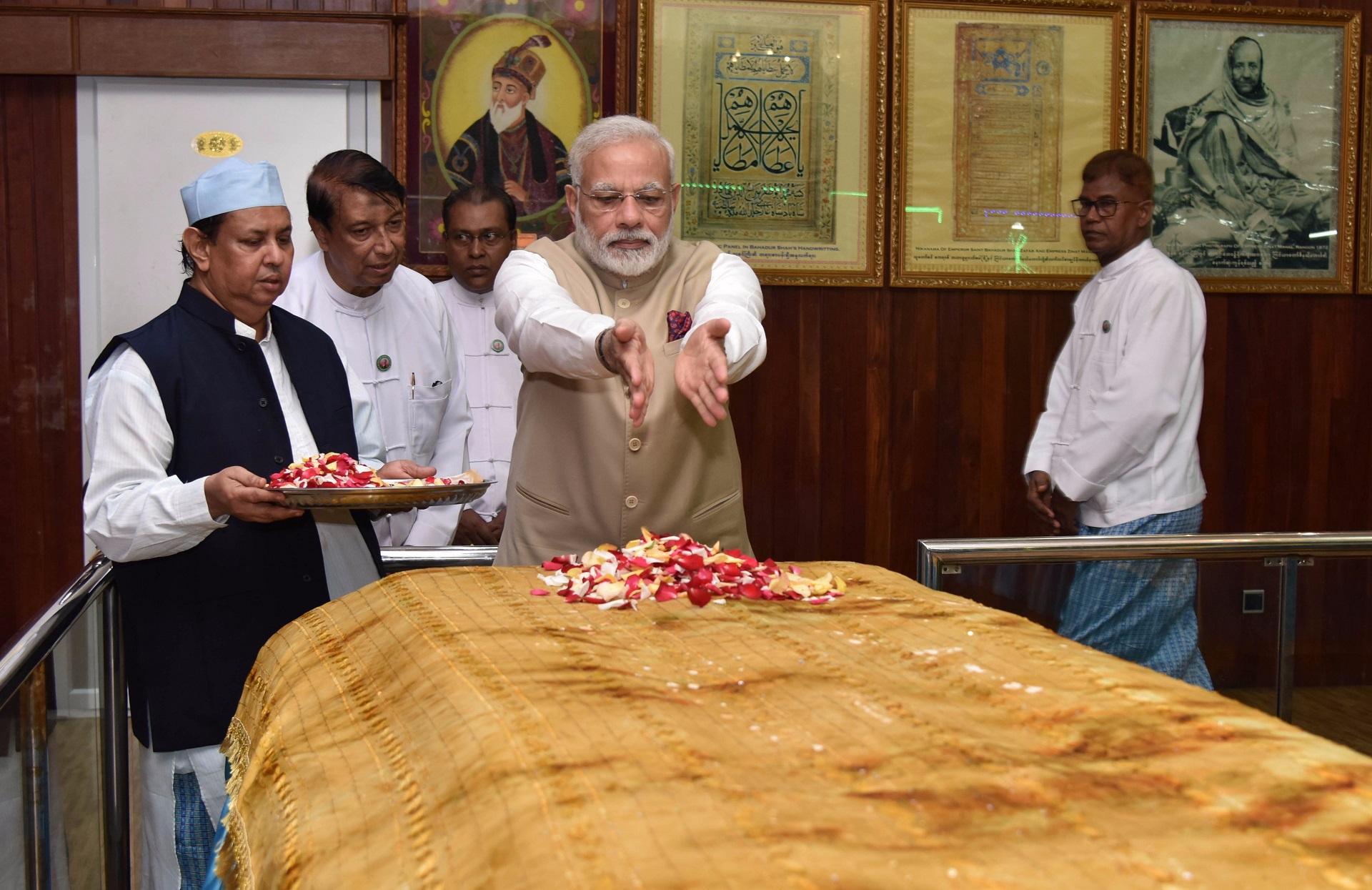 The Indian Prime Minister Narendra Modi visited the Mazaar (shrine) of last Mughal emperor Bahadur Shah Zafar in September 2017.