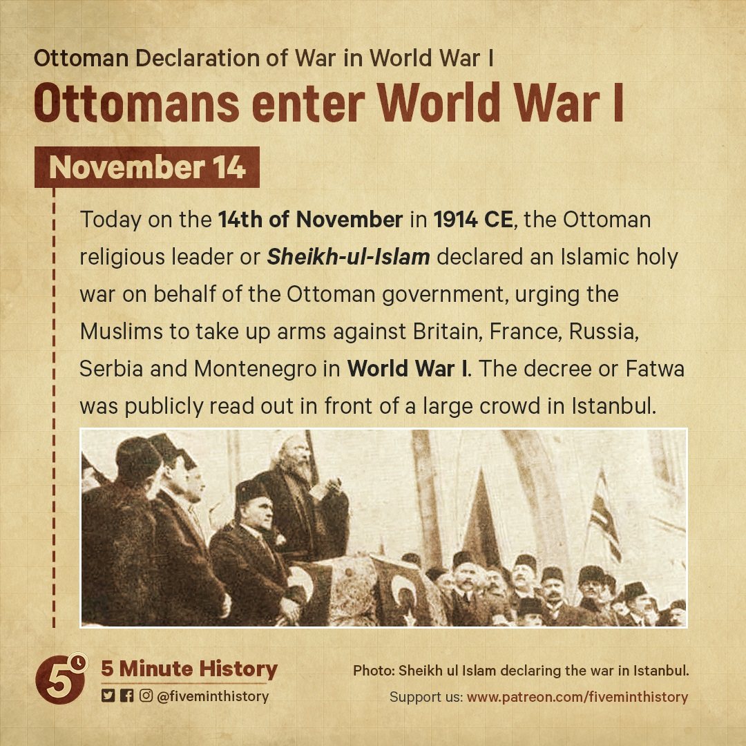 WW1, the Ottoman Empire declares war, 1914 CE