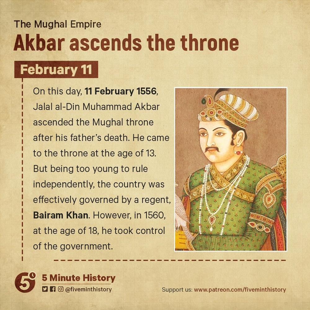 Akbar ascends the throne
