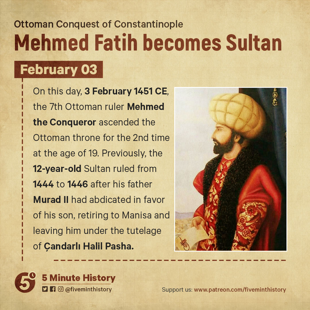 Mehmed Fatih becomes Sultan