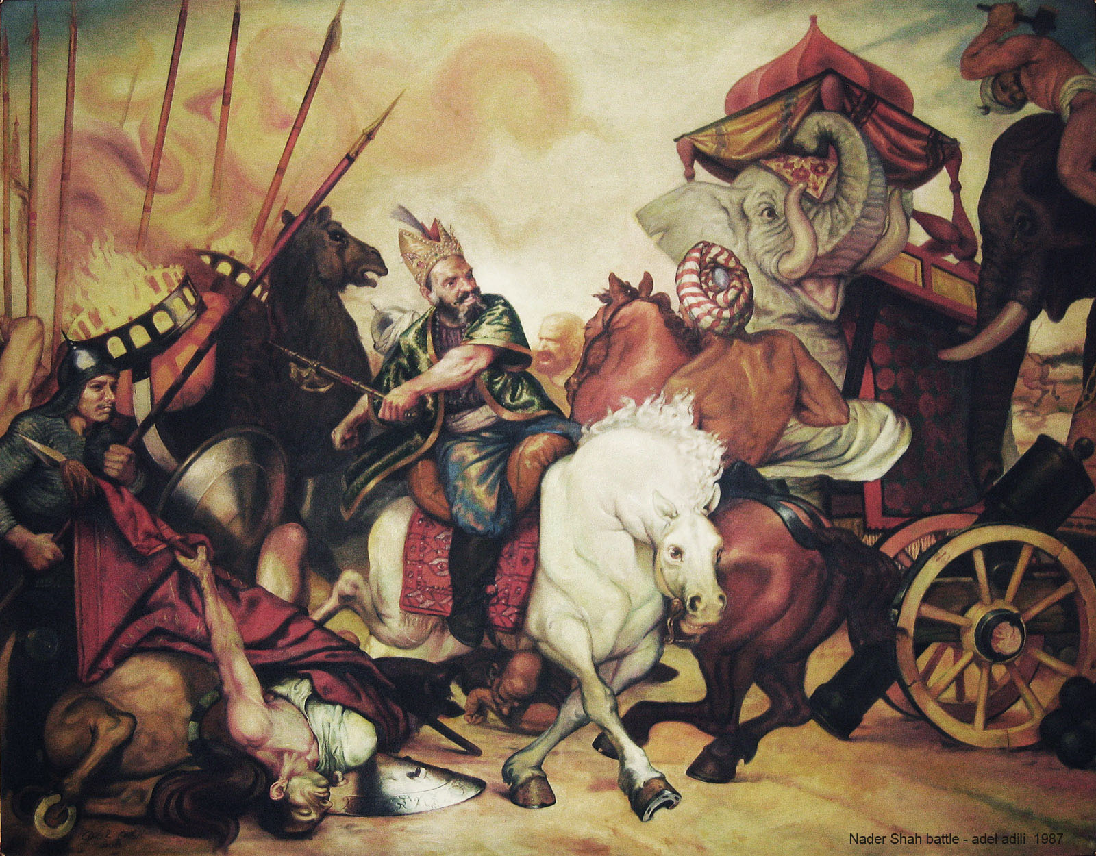 Portrayal of Nader Shah in the battle of Karnal by Adel Adili