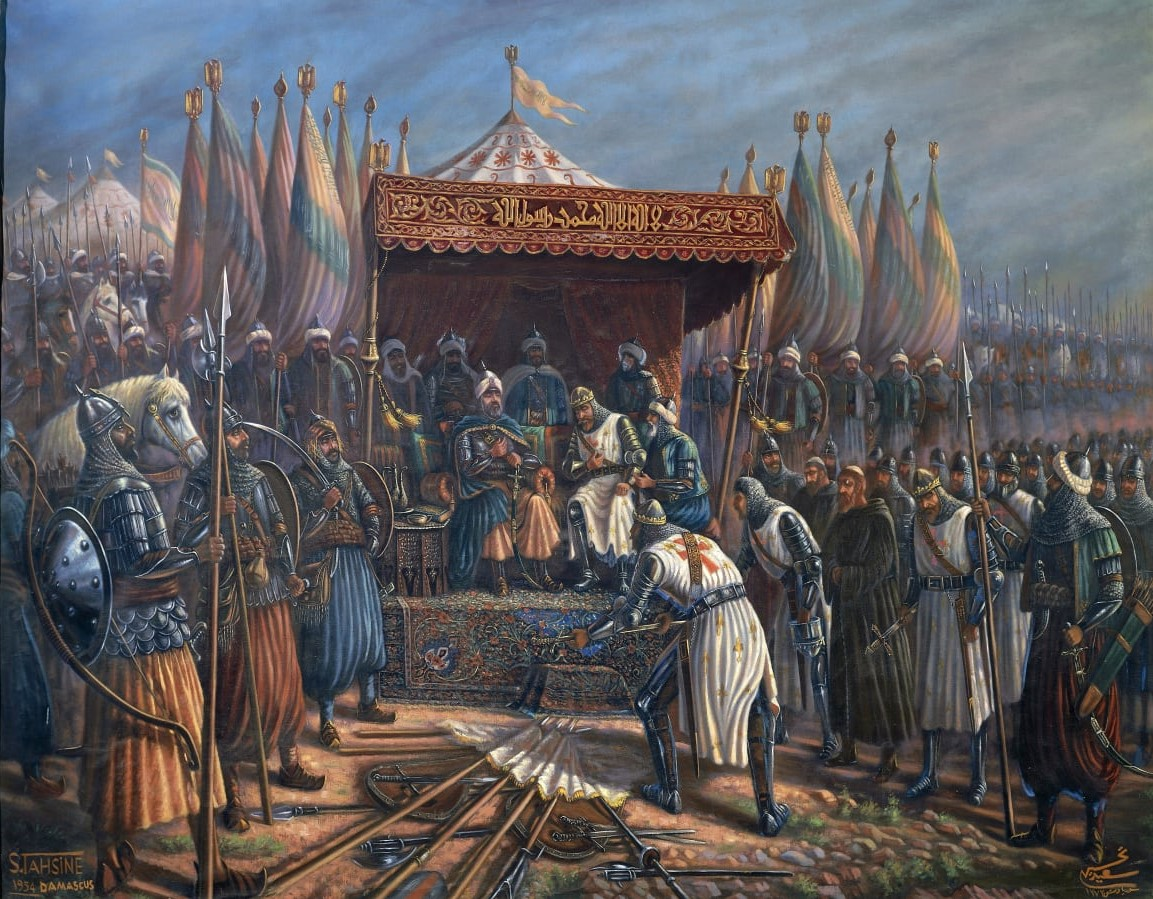 The painting depicts the king of the Kingdom of Jerusalem, Guy of Lusignan (r. 1186-1192) surrendering to Salah al-Din after his defeat at the Battle of Hattin on July 4, 1187 CE.