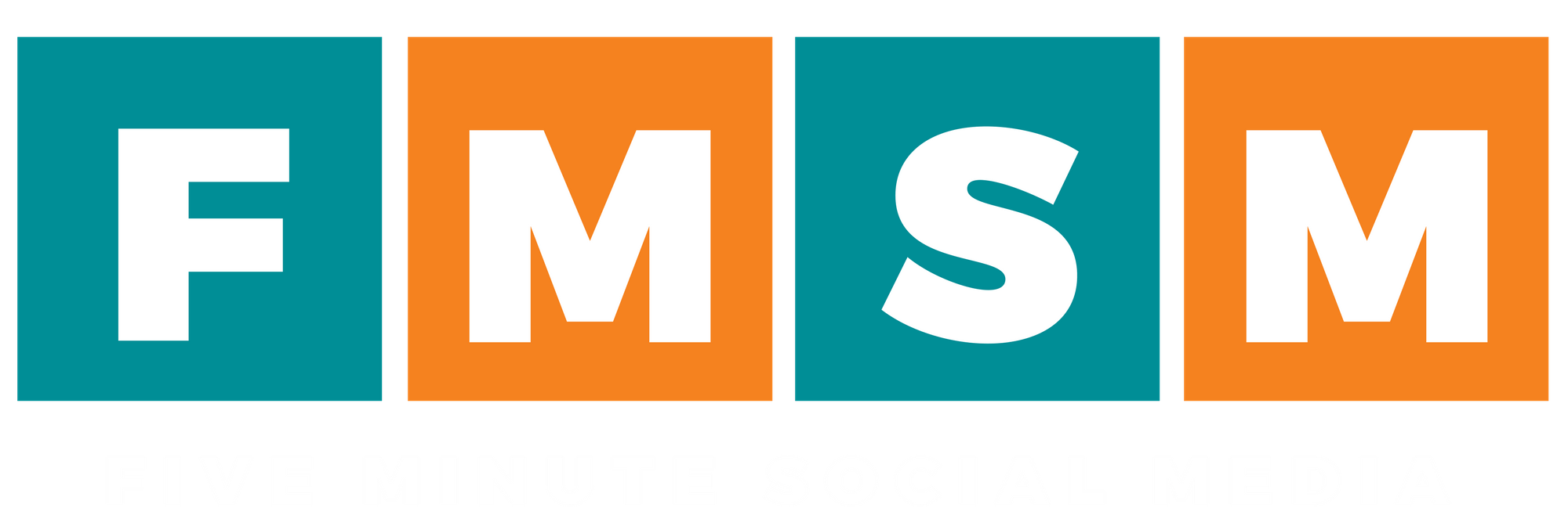 Five Minute Social Media Logo - Horizontal, White