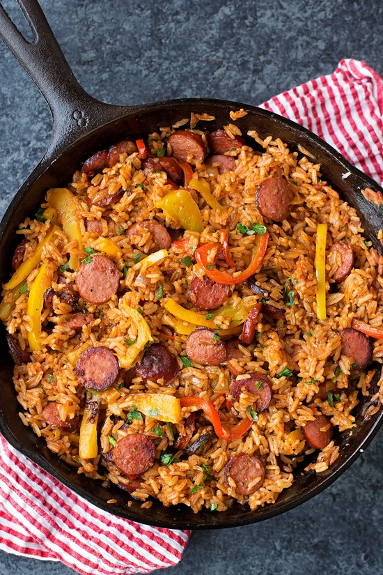 Bell pepper, rice and sausage one-pan dinner. Real food dinners!