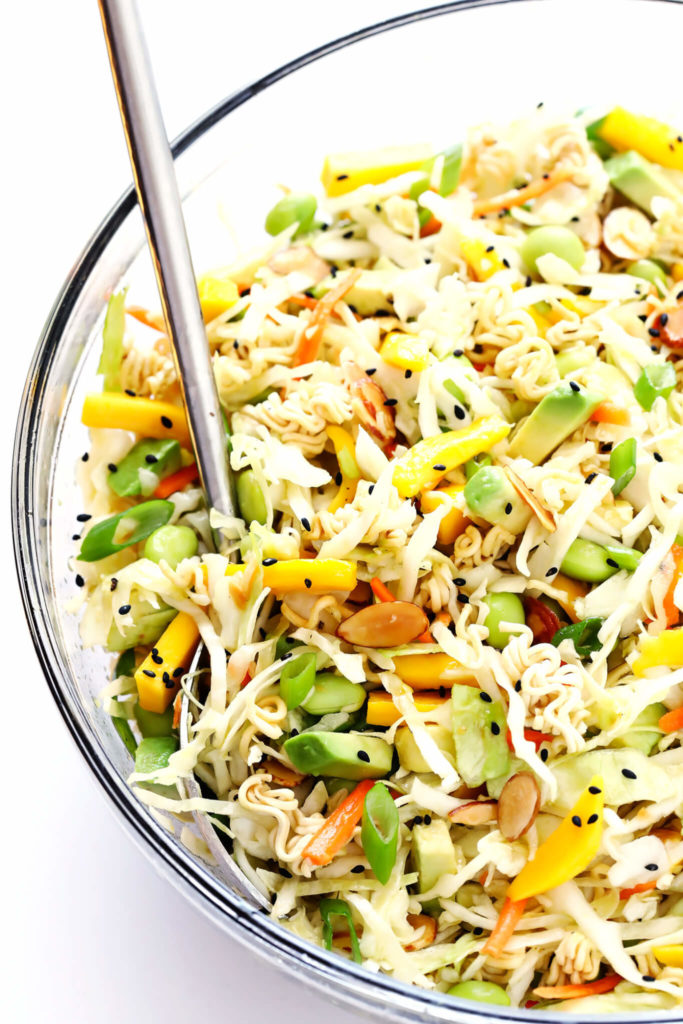 Crunchy Asian Ramen Noodle Salad from Gimme Some Oven with mango and edamame