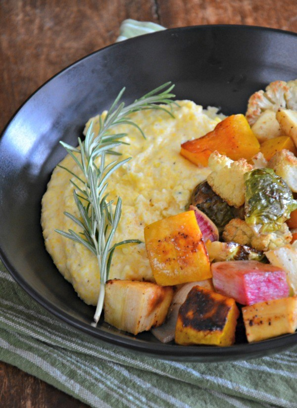 Colorful dinners like this creamy rosemary polenta with roasted veggies.