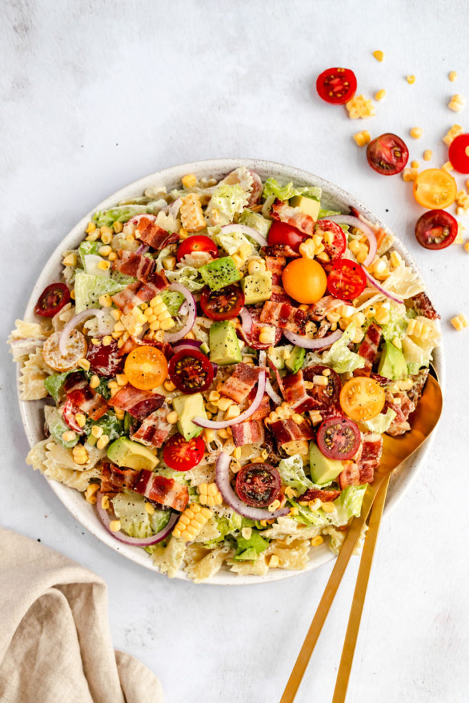 Dinner meal plan: BLT Pasta Salad with Creamy Jalapeno Cashew Dressing from Ambitious Kitchen