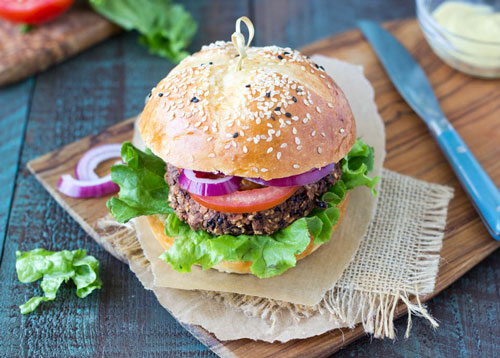 Healthy Summer Dinner Meal Plan Ideas: Quick and easy Black Bean Burgers recipe from Happy Herbivore.