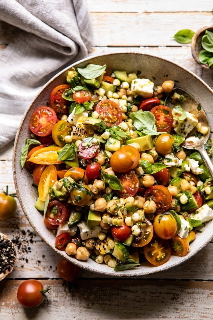 Healthy dinner plan for the week: Corn, Tomato & Avocado Chickpea Salad from Half Baked Harvest.