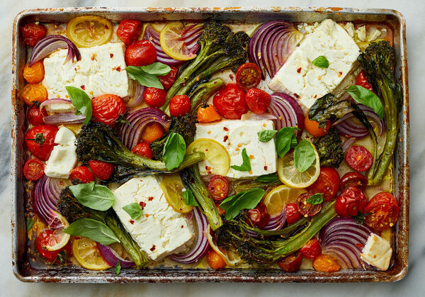Baked Feta with Broccolini and Tomatoes from NY Times Cooking