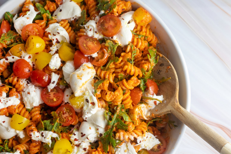 October dinners: Romesco Pasta Salad with Burrata from Giadzy