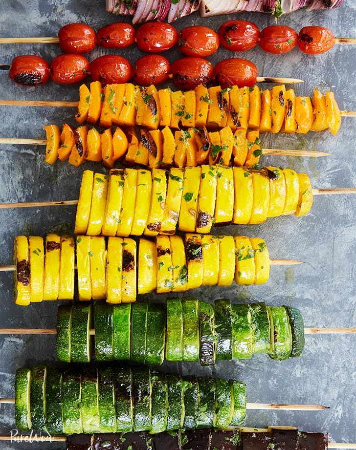 9 Vegetarian Recipes to Try on the Grill this Summer: Pure Wow Rainbow Vegetable Skewers | FivePlates.com
