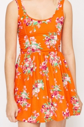 Orange Floral Skater Dress