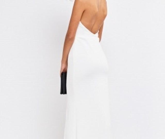 Off White Halter Neck Maxi Dress