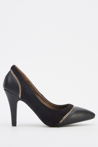 Chained Detailed Heels  Black  Just 5