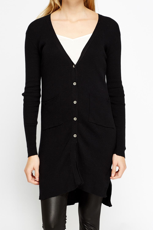 Long Black Button Up Cardigan  Uomo Cardigan