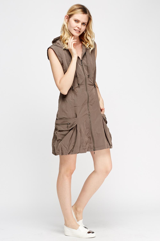 Hooded Zip Sleeveless Dress  Just 5