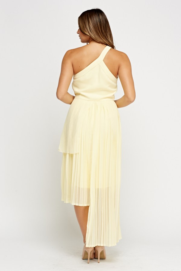 Asymmetric Pleated Light Yellow Dress - 5