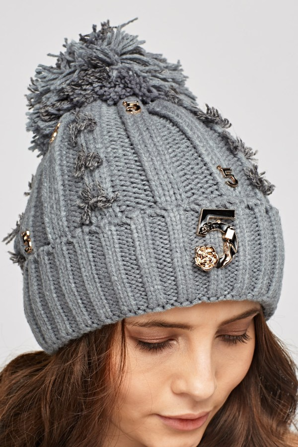 Frayed Embellished Beanie Hat - 5