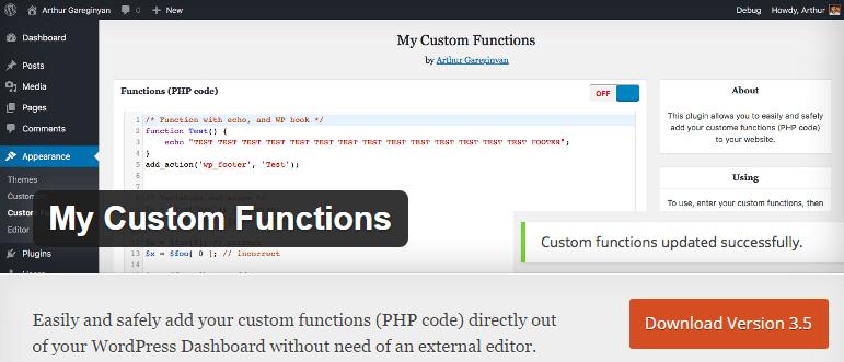 my custom functions wordpress plugin