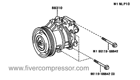 Compressor Assembly with WP88310-0D090 883100D090 88310