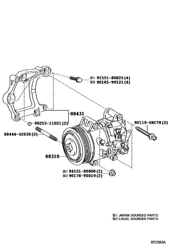 A/C Compressor for vehicle88310-06500 8831006500 88310
