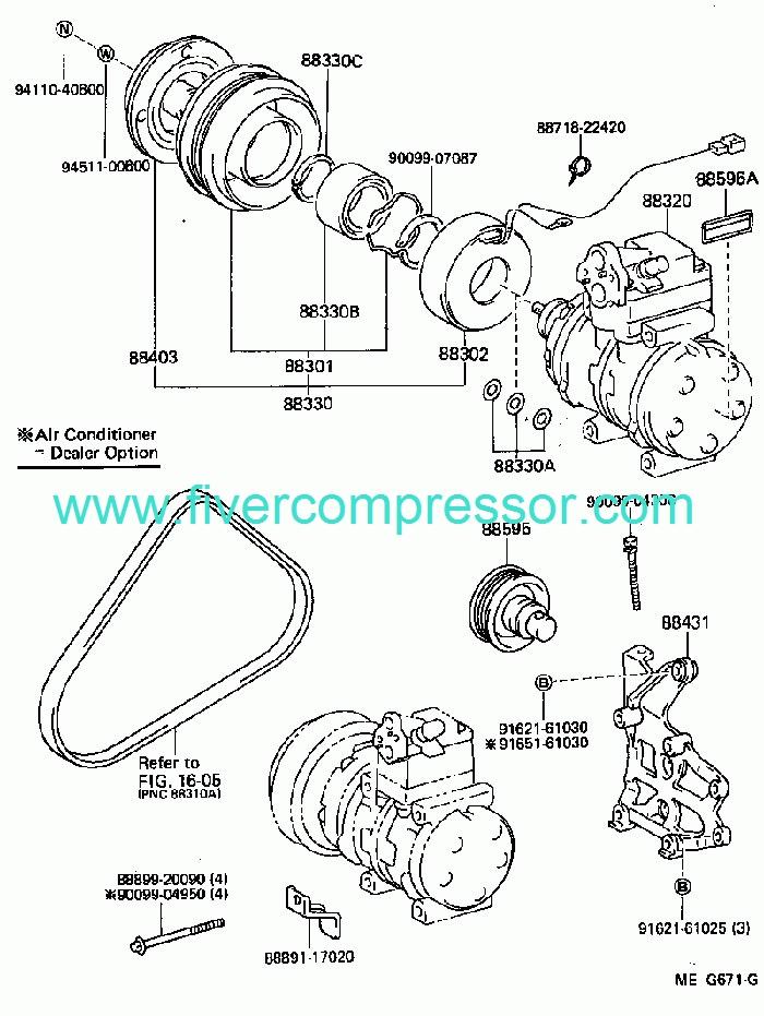 TOYOTA MR2 AW11 1988-1989 Compressor Assy Cooler 88320-17041