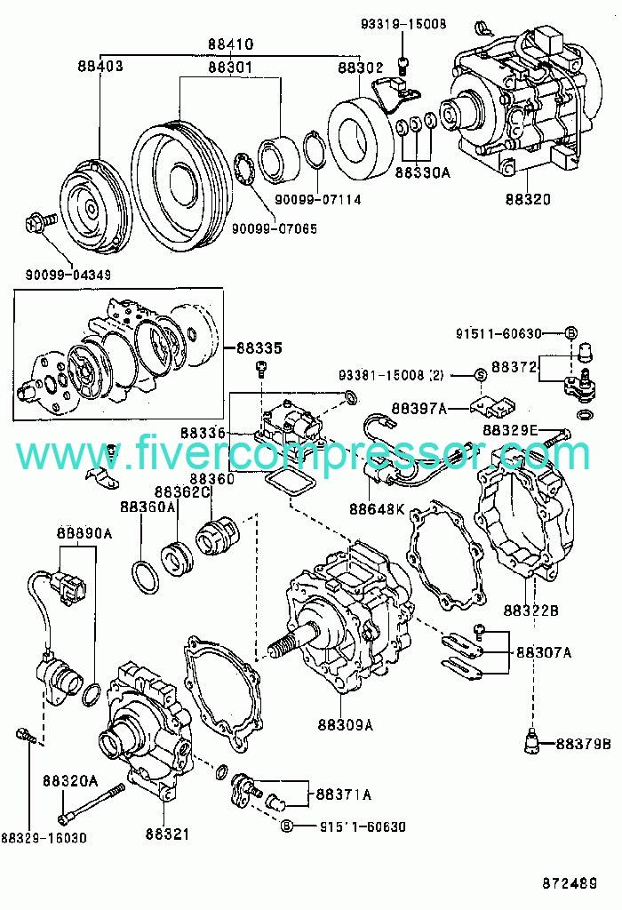 Toyota Corolla sed/cp/wg 1994-1997 A/C Compressor 88320-1A320