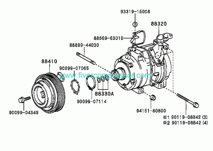 Toyota Picnic/Avensis ACM20 2001-2003 Compressor Air