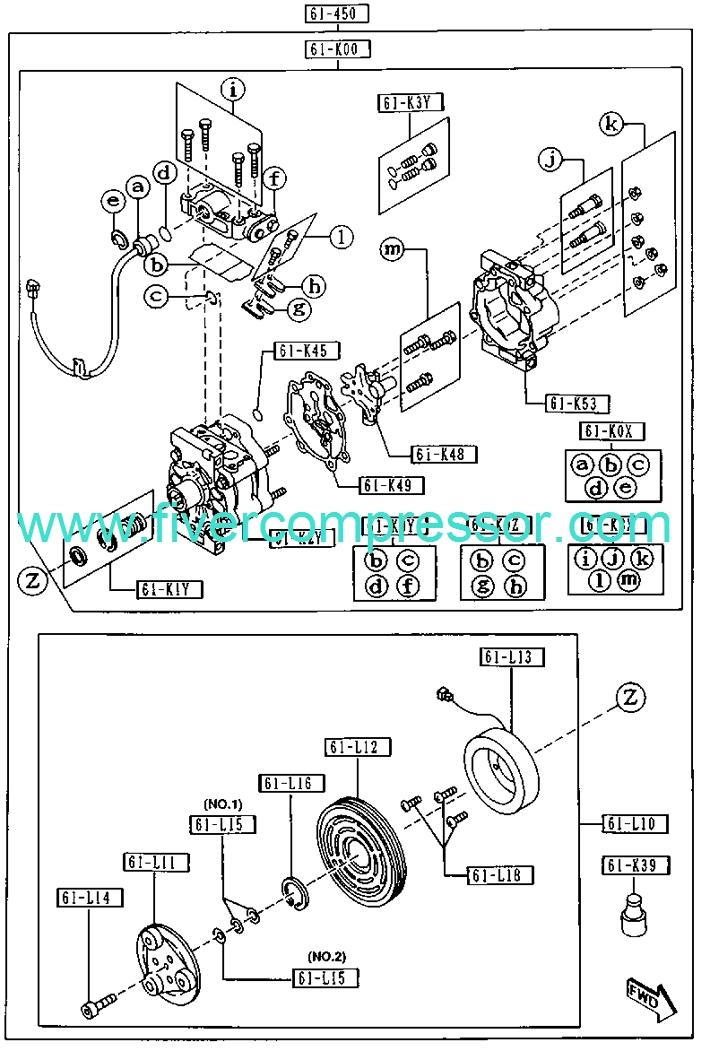 AC COMPRESSOR GA5R-61-450A GA5R-61-450 GA5R-61-450B MAZDA