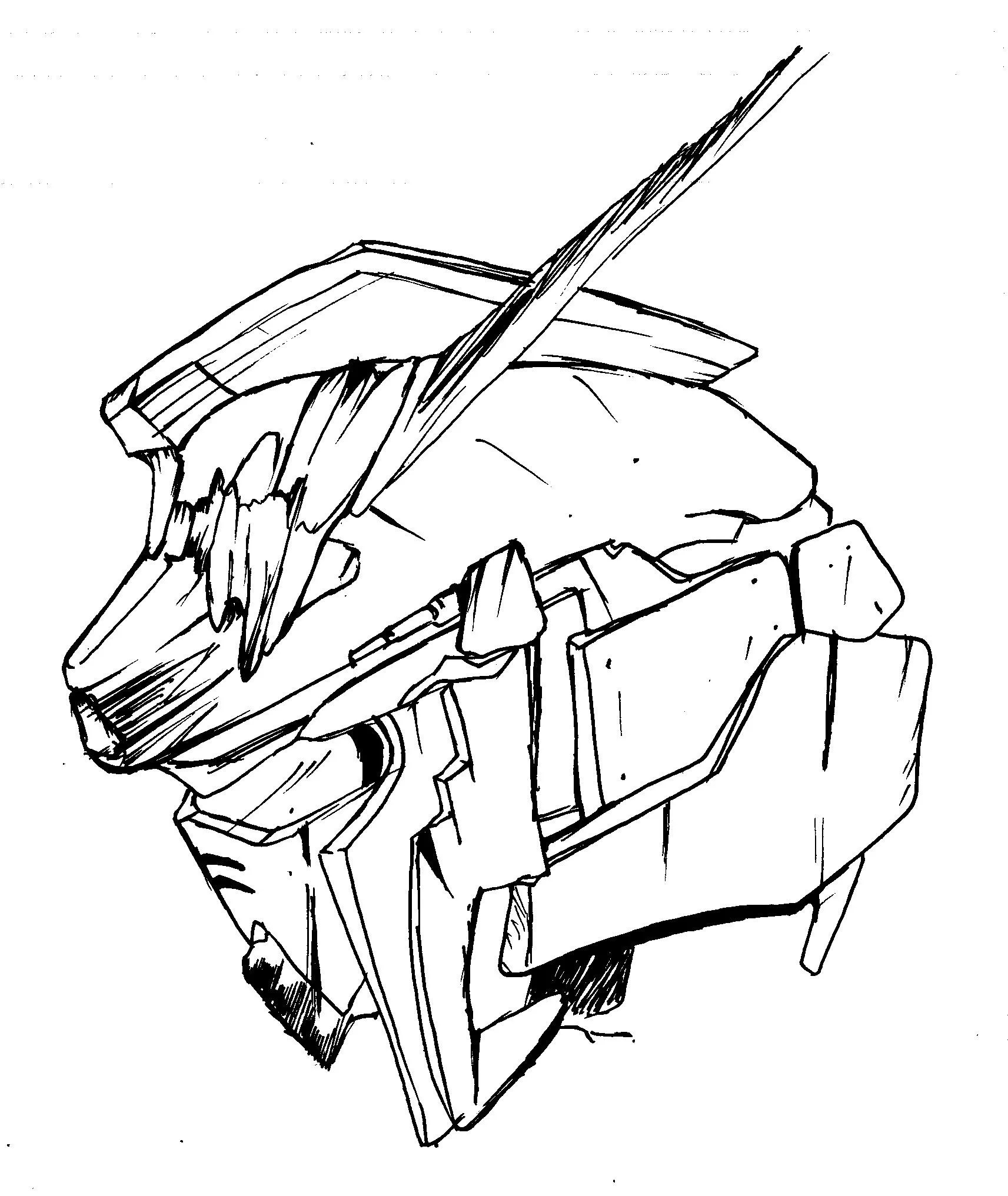 Gundam Head Drawing