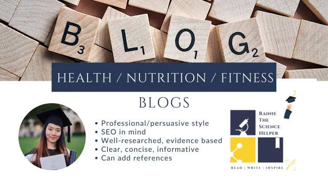Research and write health nutrition fitness blogs by Rainieye  Fiverr