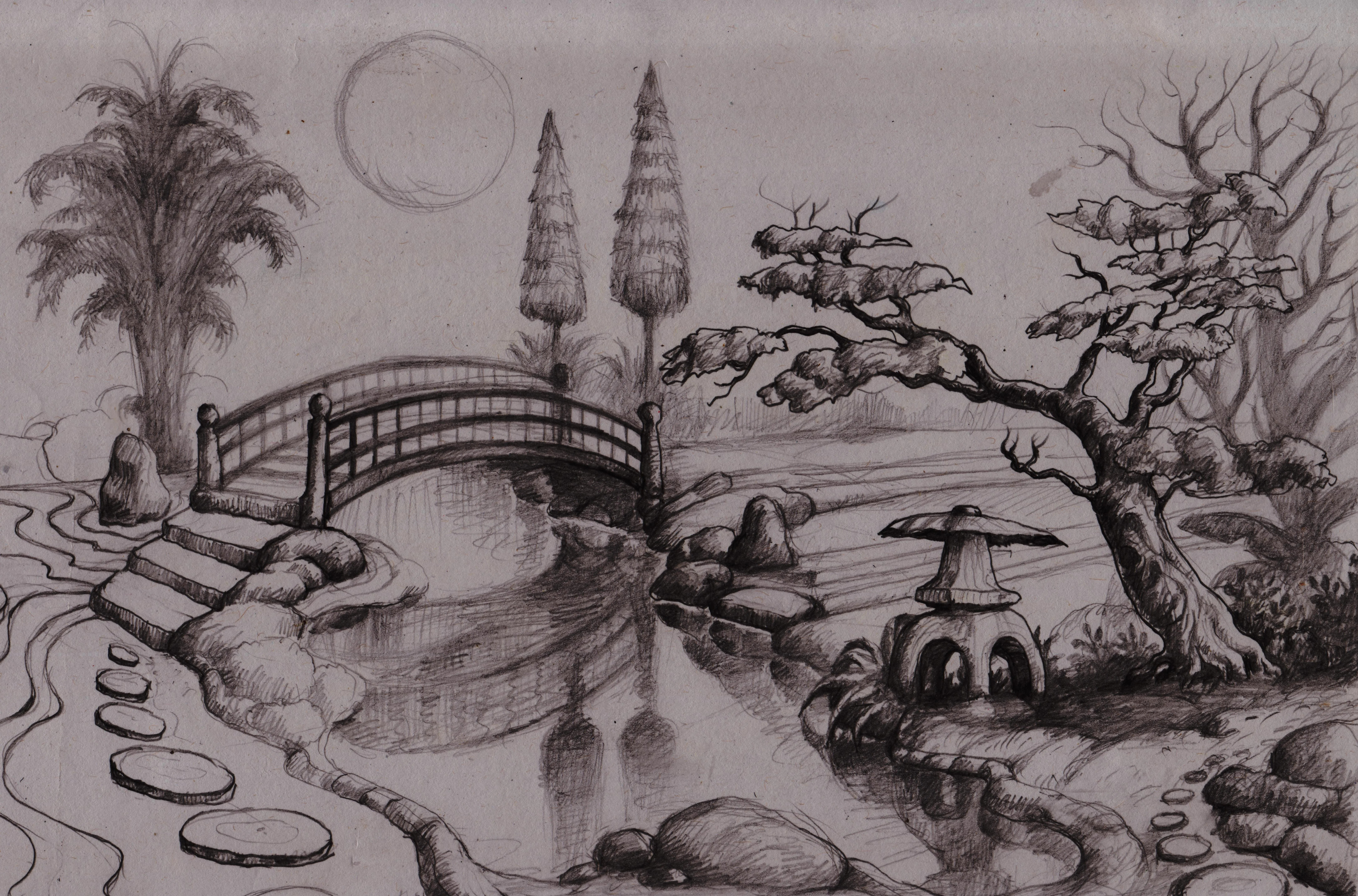 Drawing Japanese Style Garden Designs Available Land Size And Design Concept By Armanharis