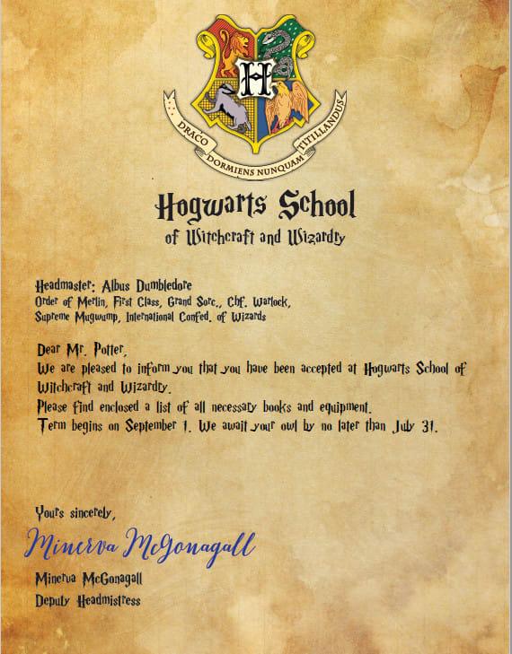 hogwarts birthday invitation letter