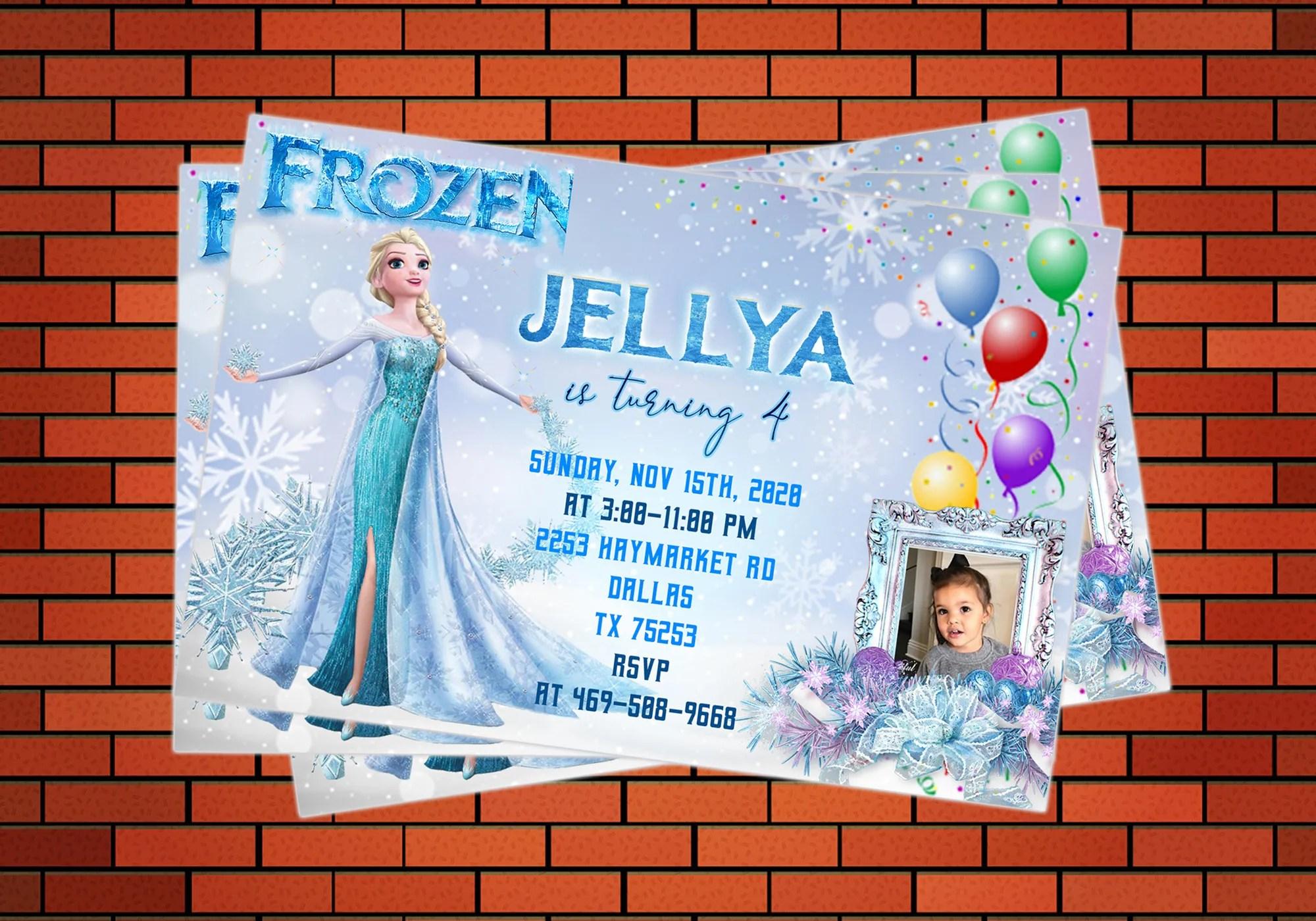 design personalised digital frozen anna elsa birthday party card