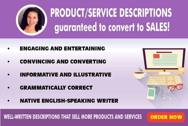 Personally write product and service descriptions that convert to