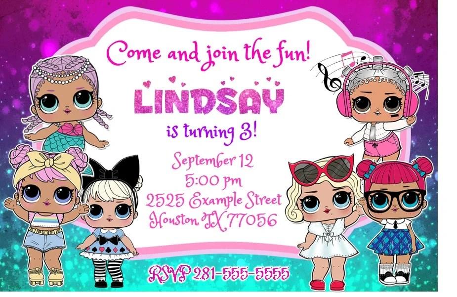 design lol surprise birthday party invitation