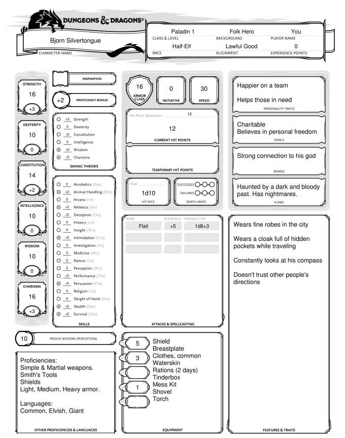 Create your dungeons and dragons character sheet by Carlcon