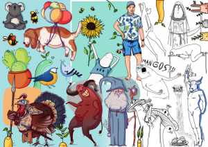 quirky draw illustrations funny line screen