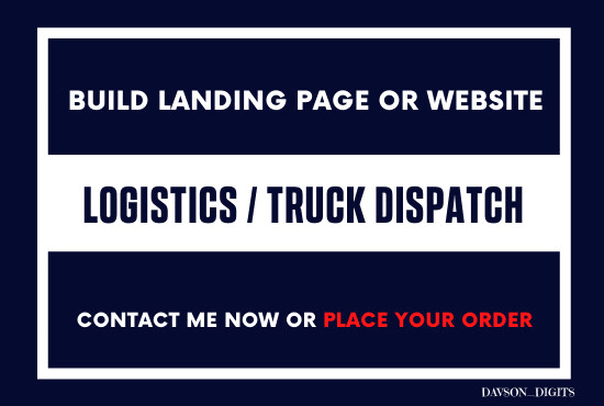 build logistics and truck dispatch landing page and website