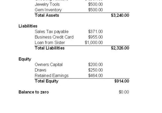 Create A Balance Sheet For Your Small Business By Hcworks