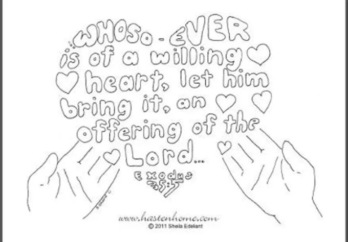Draw a custom coloring page from a king james bible verse