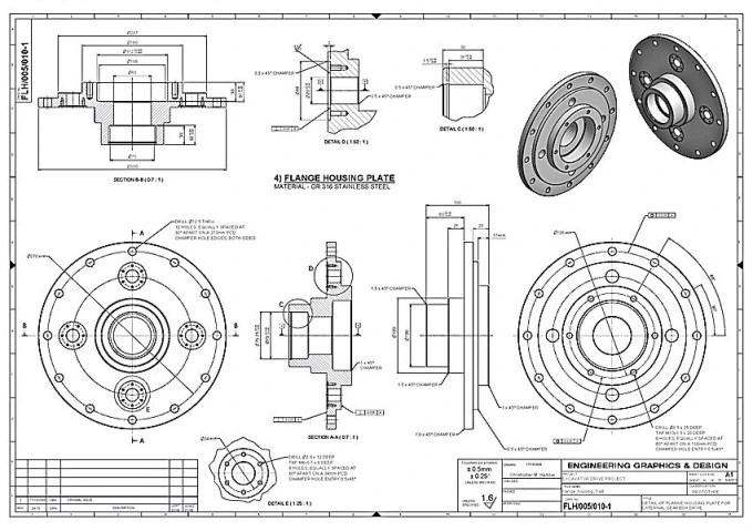 Redraw technical drawings from pdf or pictures to cad by