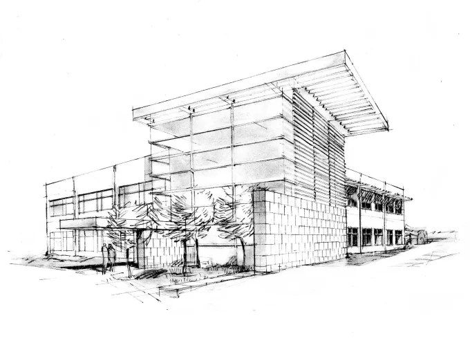 Do concept architecture buildings by handmade sketches by